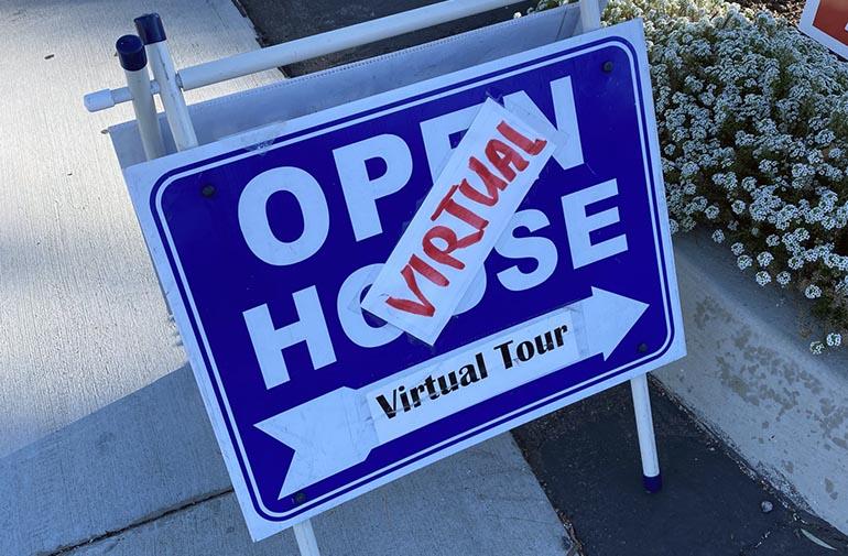 an Open House sign for a virtual tour
