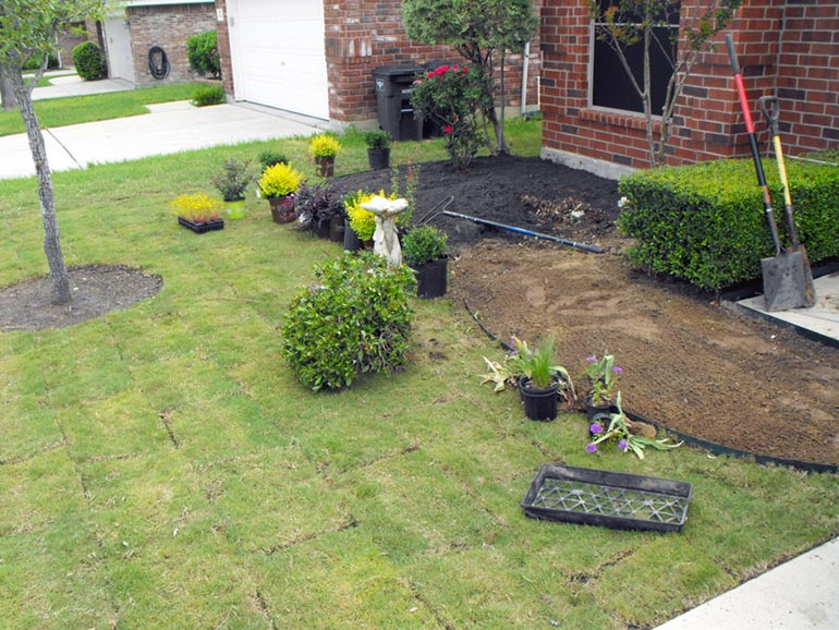 a house in Louisiana getting new landscaping in the front of the house