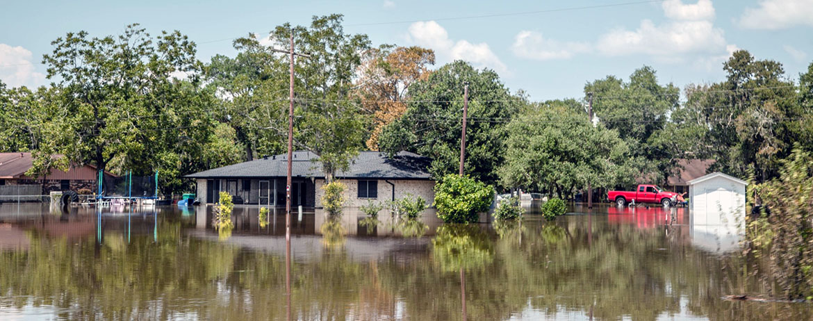 flooded houses after a hurricane